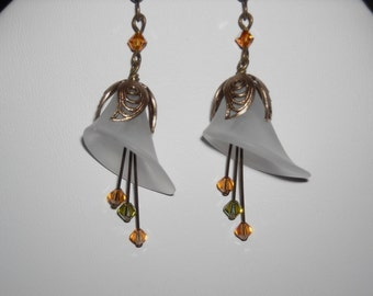 Cala Dangle  earrings - Brass Flower Cap, Drop Earrings, Cluster Earrings, hoop, White Cala, FreeShipping, Gift, Wedding