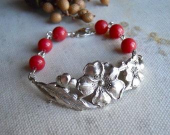 Rose Charm Bracelet, Friendship bracelet, Cuff, Bangle, Gift, Pink Jade, Rose Flower Bracelet, Wedding jewelry