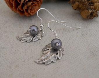 Silver Leaf  earrings, gray pearl, silver hoop, dangling earrings, cluster earrings, wedding earrings, Free Shipping, gift