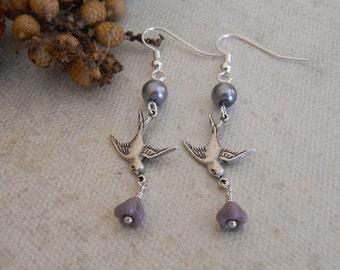 Dangle Sparrow Earrings, Drop Earrings, purple flower, Gray Pearl, Hoop, Bridal earrings, gift, free shipping