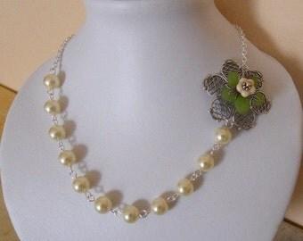 Jewelry Set of 3 - Necklace, Bracelet, Earrings, Statement necklace, Flower charm bracelet, Dangle Earrings, Bridal jewelry set