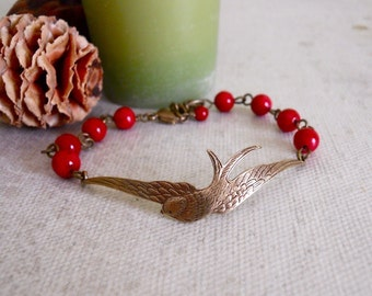 Friend ship bracelet, Bracelet, Wings of Peace  Bangle Bracelet, Bangle, Charm, Bridal, Wedding bracelet, Red Coral, Free Shipping, Gift