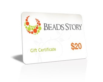 Beads Story Gift Certificate - 20 DOLLARS, gift card, jewelry gift card