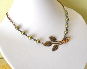 Vintage Leaf Necklace -Green Olivine Pearls, Copper flowers, Twig pendant,  Vintage Style Necklace, Free Shipping, Gift, Wedding Necklace