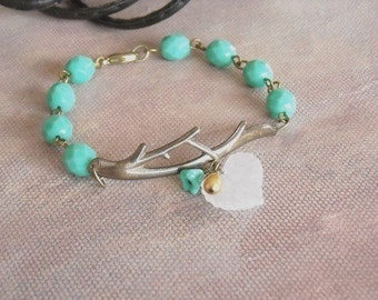 Vintage Twig  Bracelet -Green glass beads, Charm Bracelet, Beaded bracelet, Wedding, Bridal bracelet, Free Shipping, Gift