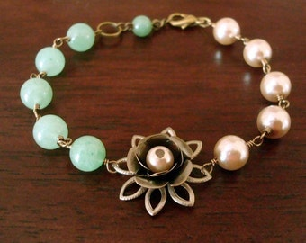 FREE SHIPPING - Vintage Rose Bracelet in Brass