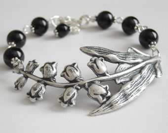Black and Silver Lily  Bracelet, Charm, Lily Twig, Friendship, bangle, Cuff, Gift, Wedding, Bridal Bracelet, Free Shipping