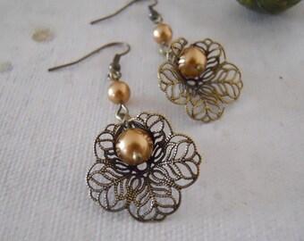 Earrings, Lily Drop Vintage Earrings-Golden Pearl, Dangle, Drop, Chandelier, Hoop, Eco-Friendly, Wedding, Bridal, Brass, Gift, Free Shipping