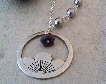 Lotus necklace- Lotus flower pendant, Gray pearls, silver pearl, purple blossom flower, Free Shipping, Gift,