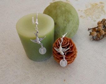 Peace  Drop Earrings, Dangle, Sparrow, White beads, Silver Swallow, Cluster, Hoop, Gift, Chandelier, Wedding Jewelry