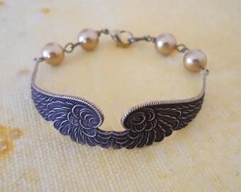 Free Shipping Wings of Peace Bracelet, Charm Bracelet, Friendship bracelet, Cuff bracelet, Bangle, Wedding bracelet