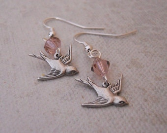 Sparrow drop Earrings, Dangle, pink crystal earrings, Gift, Wedding jewelry, bridal earrings, Silver bird earrings