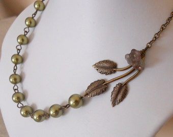 Leaves and Flowers Statement Necklace, Choker, Lariat Necklace. Leaf Charm, Gift, Wedding Jewelry, Bridal