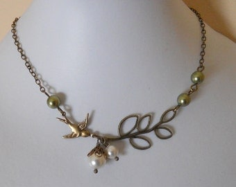 Fly with me Statement Necklace, Lariat, Choker, Twig necklace, Branch and sparrow necklace, gift,  Brass -green and white