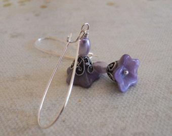Lily flower Drop Earrings, Dangle, Cluster, Wedding, Bridal, Earrings, Purple flower, Pearl earrings, Free Shipping
