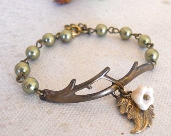 Free Shipping - Branch Bracelet Olivine pearls-cream flower, antiqued brass leaf, twig bracelet, wedding bracelet, gift