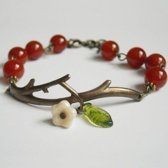 Free Shipping Twig red agate  Bracelet , Flower and leaf, Charm Bracelet, Cull, Friendship bracelet, Christmas bracelet, Gift, Brass Branch