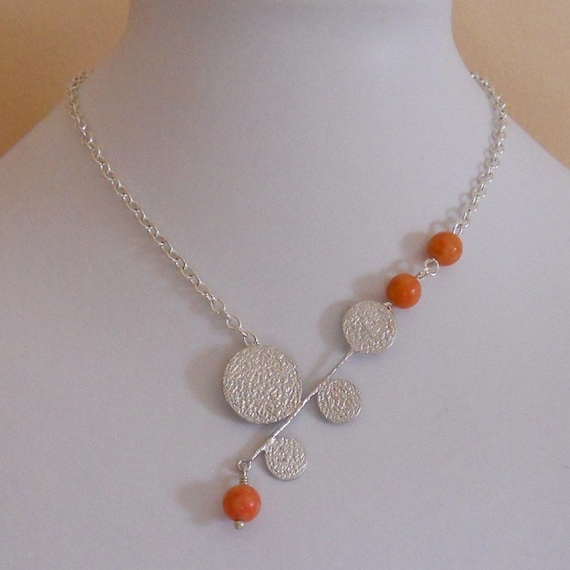 Orange Bubbles Lariat Necklace, Statement necklace, Silver Pendant, Wedding  necklace, Orange necklace, Silver chain Necklace, Gift