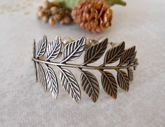 True Love  Branch Bracelet, Friendship Bracelet, Charm Bracelet,Beadwork, Brass Leaf Vintage bracelet, Bronze peals. Free Shipping