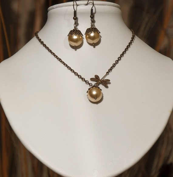 Free Shipping Set of 2 Romantic Necklace and Earrings, Statement necklace, Drop Earrings, Dangle earrings, Lariat, Choker, Wedding Jewelry
