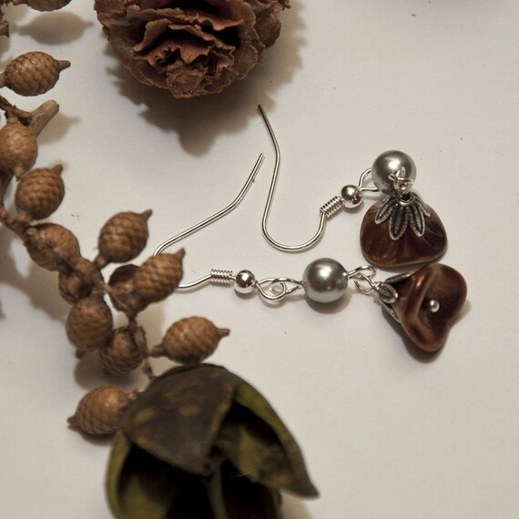 Dangle Red and Silver Earrings, Drop, Dangle, Chandelier, Wedding Earrings, Gift, SIlver Flower, Free Shipping