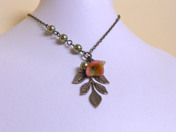 Leaf  Statement  Necklace - Burn tone -Green pearls, Pendant necklace, Lariat, Wedding jewelry, Gift, free Shipping