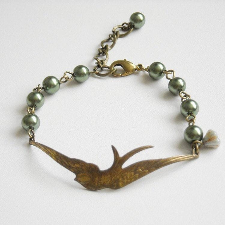 freedom bracelet charm bracelet cuff bird green