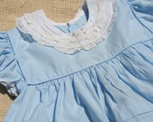 Vintage Baby Dress Blue Dress with Lace Collar and Rosebuds