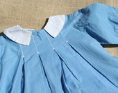 Vintage Baby Dress Blue Dress with Tiny Pink Flowers 12 months