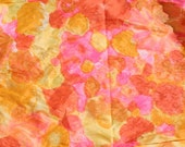Vintage Fabric Floral Embossed Fabric Neon Pink Orange