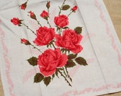 Vintage Tea Towel Linen Towel with Roses