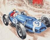 Vintage Race Car Fabric Racecar Fabric Speed Racer Yardage