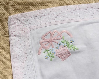 Vintage Pillow Sham Embroidered Pillow Cover Pink
