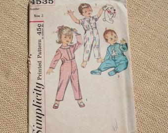 Vintage Pajama Pattern Simplicity Children's Pattern 4535 Toddler Size 2 1950s