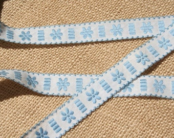 Vintage Ribbon Trim Embroidered Blue Ribbon Trim 2 Yards