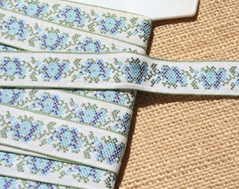 Vintage Jacquard Ribbon Trim Embroidered Trim Blue and Green Flowers 2.5  Yards