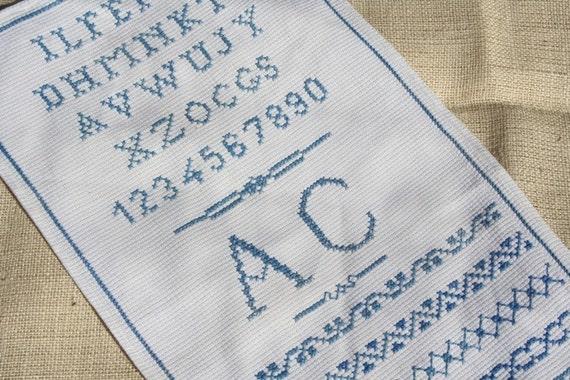 Vintage Sampler Embroidered Sampler Vintage Embroidery Blue Sampler