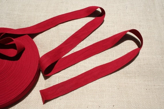 Red Twill Tape Trim Vintage Cotton Trim From