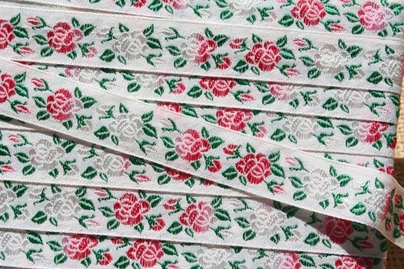 Vintage Ribbon Trim Embroidered Trim with Pink Roses 2 Yards