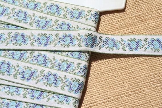 Vintage Jacquard Ribbon Trim Embroidered Trim Blue And