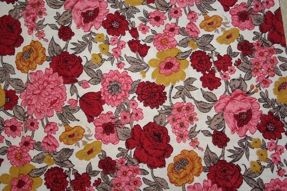 Vintage Fabric Pink Floral Fabric