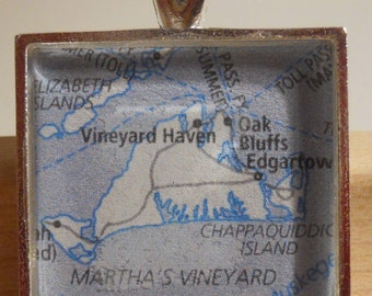 Martha's Vineyard Map Pendant
