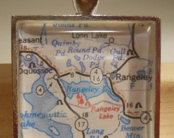 Rangeley Maine Map Pendant