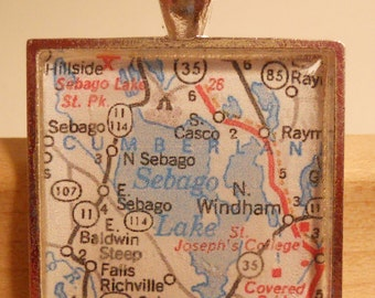 Sebago Lake Maine Map Pendant