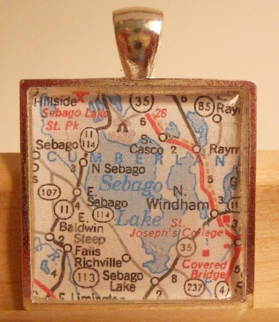 Sebago Lake Maine Map Pendant