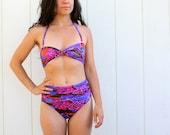 vintage high-waist bikini . neon abstract color splash
