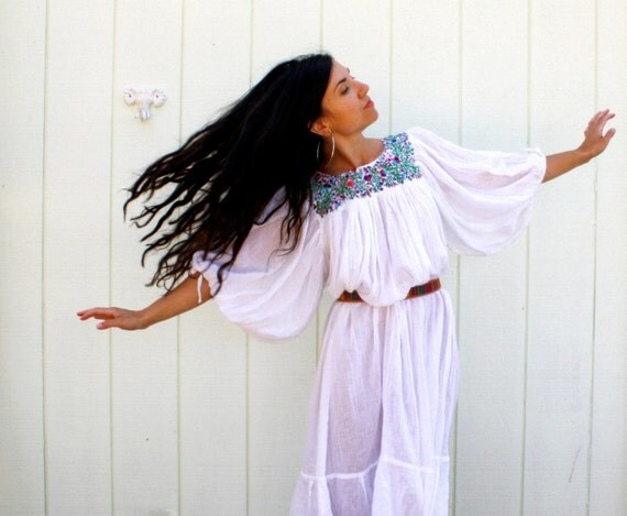 gauzy cotton dress . embroidered boho summer dress