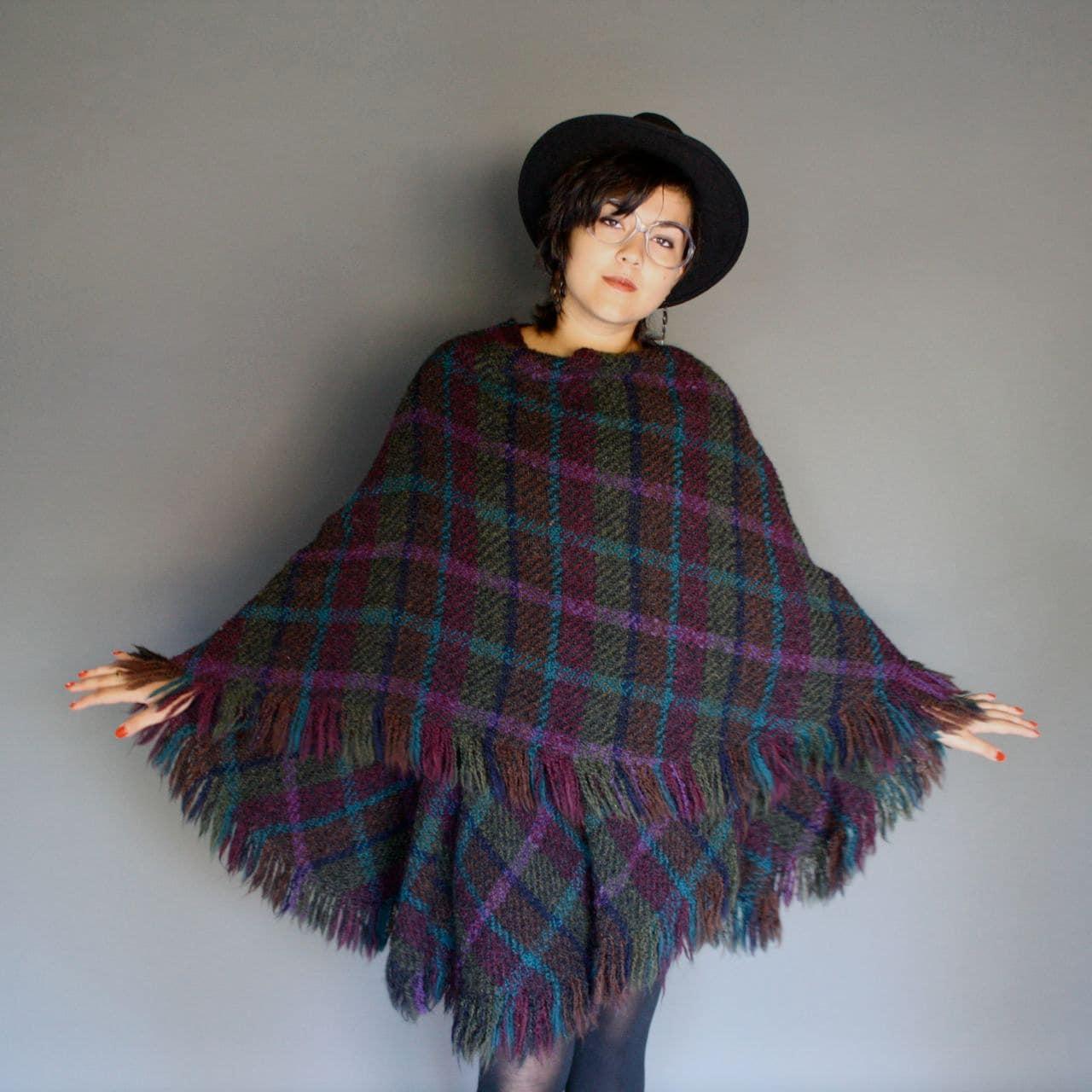 Wool Cape Knitting Pattern : irish wool cape . knitted wool poncho . winter jewel tones