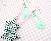 Lavender Chain Drop Mint Safety Pin Dotted Line Earrings