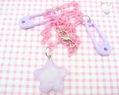 Frosted Lavender Glitter Shooting Star Pastel Plastic Safety Pin Pink Baby Chain Necklace